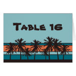 Retro Beach Folded Table Number Cards zazzle_card