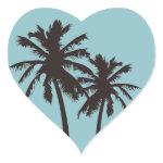 Retro Beach Heart Stickers zazzle_sticker