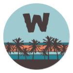 Retro Beach Monogram Stickers zazzle_sticker