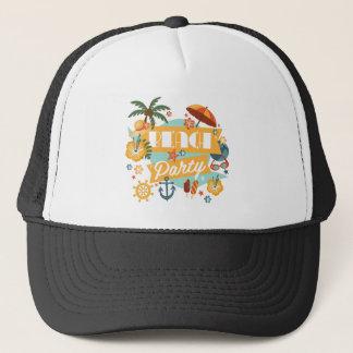 Retro beach party collage trucker hat