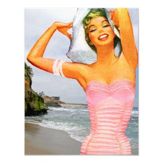 Retro Beach Party 4.25x5.5 Paper Invitation Card