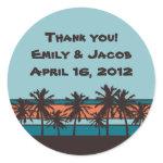 Retro Beach Personalized Favor Stickers zazzle_sticker