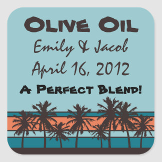 Retro Beach Personalized Olive Oil Favor Tags