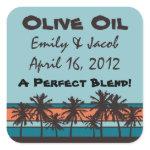 Retro Beach Personalized Olive Oil Favor Tags zazzle_sticker