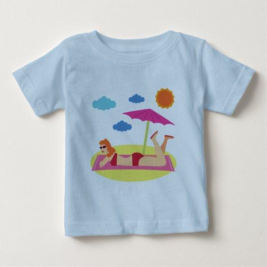 Retro Beach Pinup Girl Baby T-Shirt