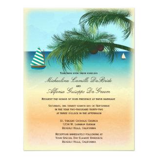 Retro Beach Scene Formal Wedding Invite