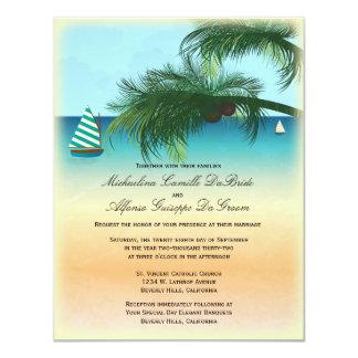 """Retro Beach Scene Formal Wedding Invite 4.25"""" X 5.5"""" Invitation Card"""