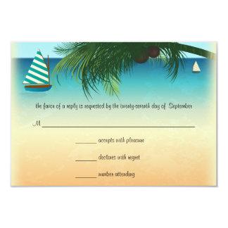 "Retro Beach Scene Wedding RSVP Response Card 3.5"" X 5"" Invitation Card"