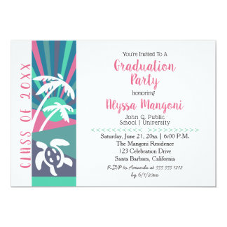 Retro Beach Sunset Graduation Party Card