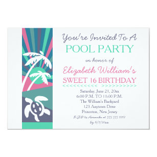 Retro Beach Sunset Sweet 16 Birthday Pool Party Invitation