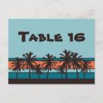 Retro Beach Table Number Cards zazzle_postcard