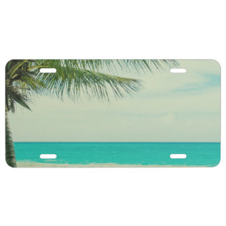 Retro Beach Theme License Plate