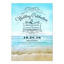 Retro beach wedding invitations blue ombre seaside