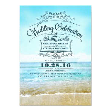 beach Retro beach wedding invitations blue ombre seaside