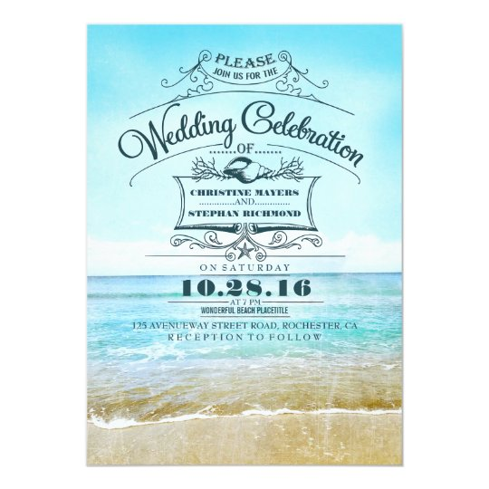 Retro beach wedding invitations blue ombre seaside Zazzlecom