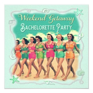 Retro Beach Weekend Getaway Bachelorette Party Card