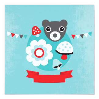 Retro bear kids birthday invitation