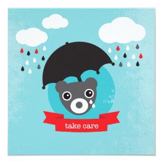 "Retro bear kids take care postcard 5.25"" square invitation card"