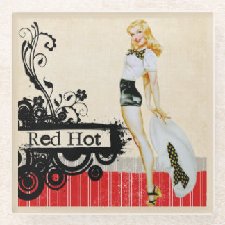 Retro Beautiful Pinup Grunge Glass Coaster