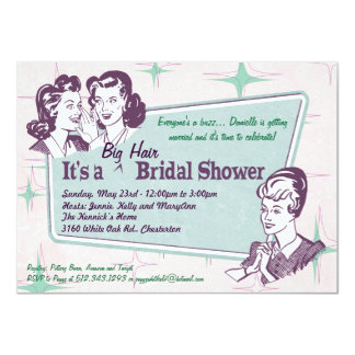 Retro Beehive Hairdo-Big Hair Bridal Shower -smlr Personalized Invitation