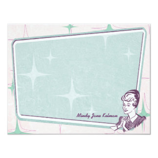 Retro Beehive Hairdo Personalized Flat Note Cards