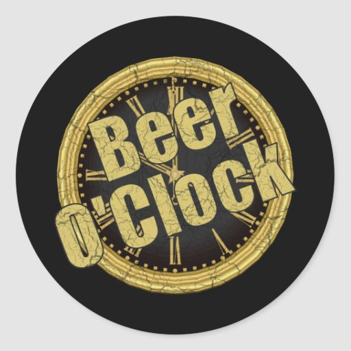 Retro Beer O'Clock Gift Classic Round Sticker