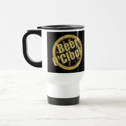 Retro Beer O'Clock Gift 15 Oz Stainless Steel Travel Mug