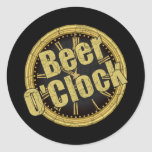 Retro Beer O'Clock Gift Round Stickers