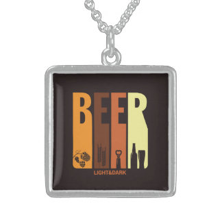 Retro Beer Square Pendant Necklace