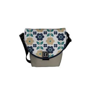 Retro Beige/Blue Flowers Courier Bag