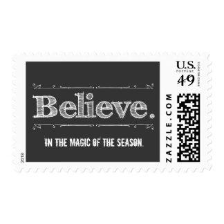 Retro Believe Holiday Magic Postage