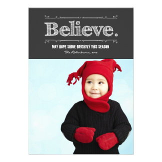 Retro Believe Holiday Photo Card