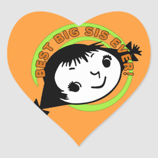 Retro Best Big Sister Ever Heart Stickers