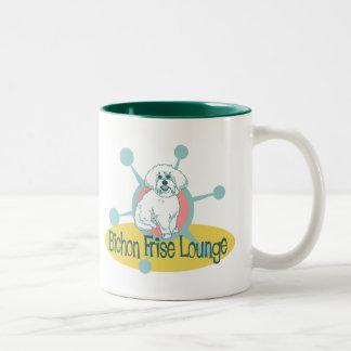 Retro Bichon Frise Lounge Two-Tone Coffee Mug