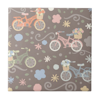 Retro Bicycle and Flowers Ceramic Tile
