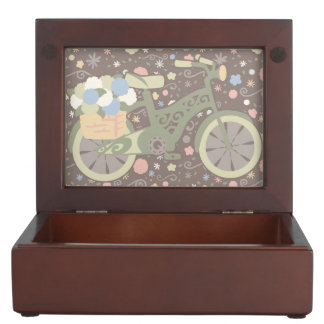 Retro Bicycle and Flowers Memory Box