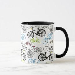 Retro Bicycle Bike Pattern Mug