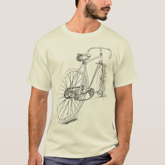 Retro Bicycle drawing design in black T-Shirt