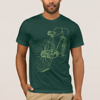 Retro Bicycle drawing design in green T-Shirt