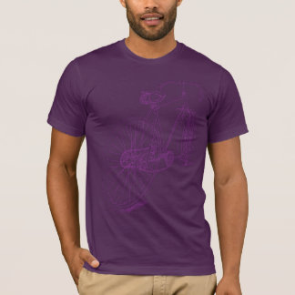 Retro Bicycle drawing design in purple T-Shirt