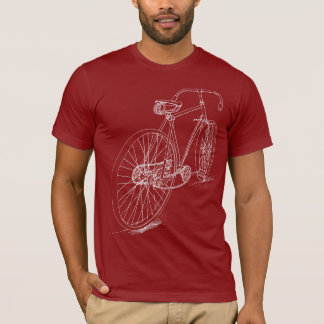Retro Bicycle drawing design in white T-Shirt
