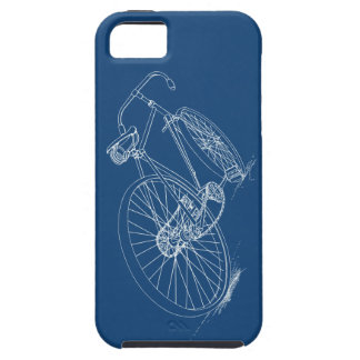 Retro Bicycle drawing, Navy Blue & White iPhone 5 Cases
