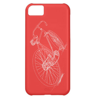 Retro Bicycle Drawing, Red/White iPhone case iPhone 5C Cases
