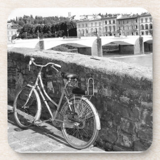 Retro Bicycle in the city of Florence, Italy Beverage Coaster