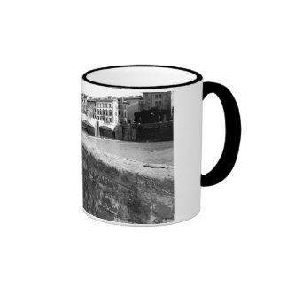 Retro Bicycle next to a bridge in Florence Coffee Mugs