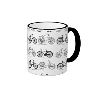 Retro Bicycle Pattern Ringer Coffee Mug