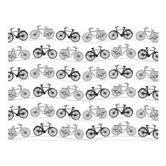 Retro Bicycle Pattern Postcard