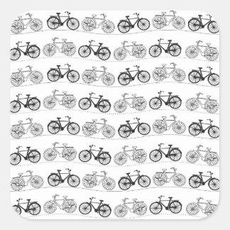 Retro Bicycle Pattern Square Sticker