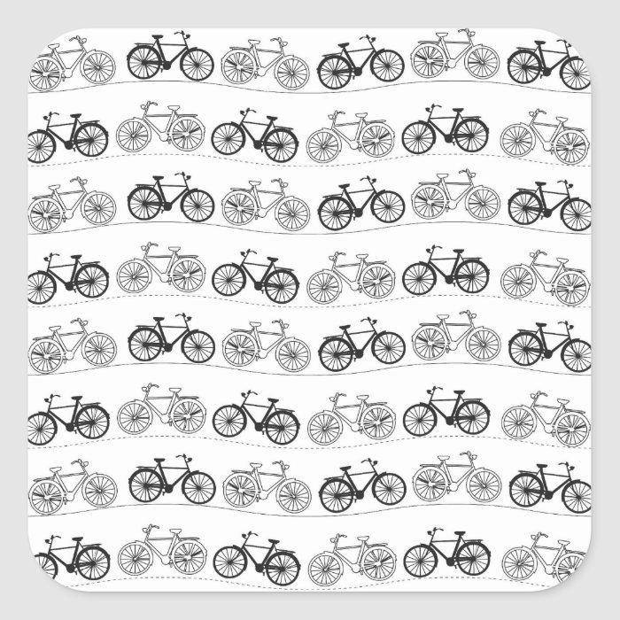 Retro Bicycle Pattern Square Sticker