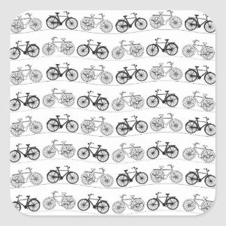Retro Bicycle Pattern Square Stickers